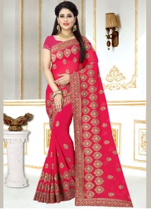 Faux Georgette Hot Pink Zari Saree