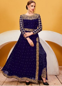 Faux Georgette Lace Blue Pant Style Suit