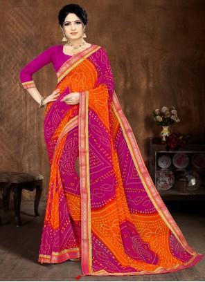Faux Georgette Lace Multi Colour Printed Saree