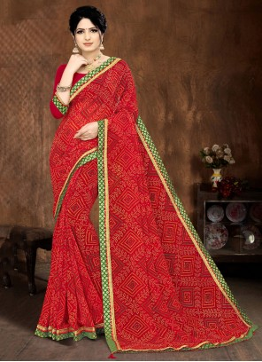 Faux Georgette Lace Red Printed Saree