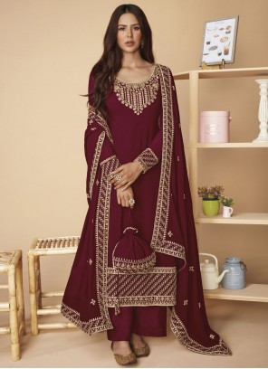 Faux Georgette Magenta Designer Pakistani Suit