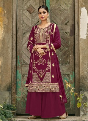 Faux Georgette Magenta Embroidered Designer Palazzo Suit