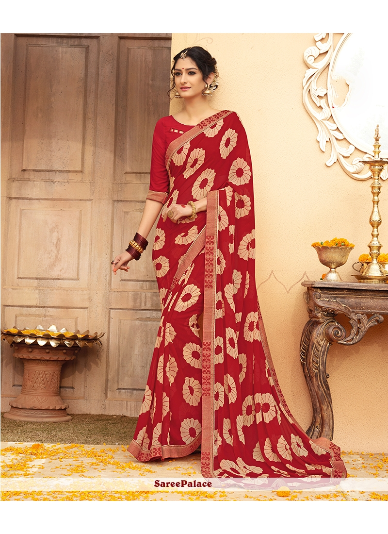 Faux Georgette Maroon Casual Saree