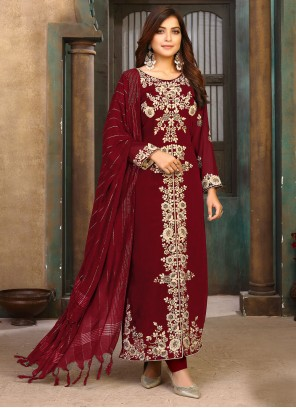 Faux Georgette Maroon Designer Pakistani Salwar Suit