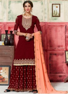 Faux Georgette Maroon Designer Palazzo Salwar Kameez