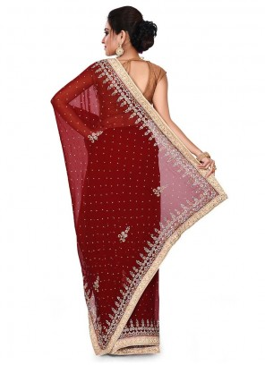 Faux Georgette Maroon Designer Traditional Saree