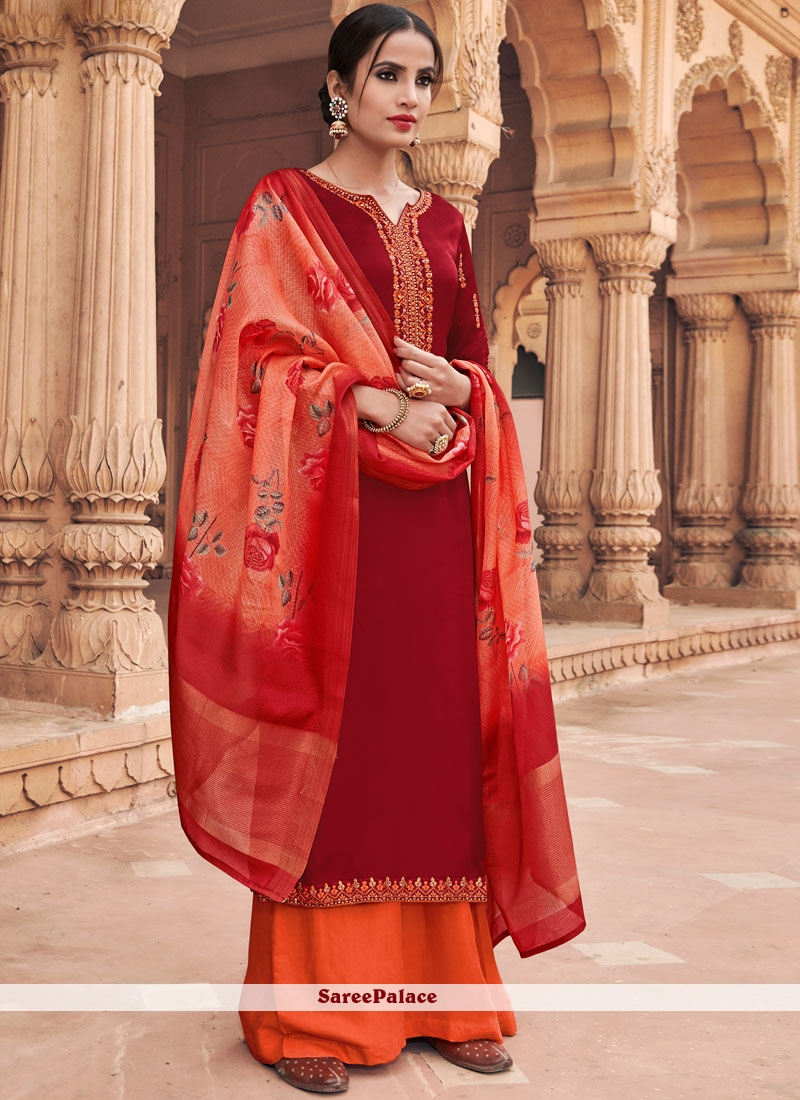 Faux Georgette Maroon Embroidered Designer Pakistani Suit