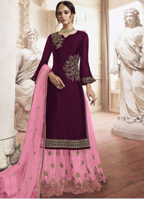 Faux Georgette Maroon Embroidered Palazzo Salwar Suit