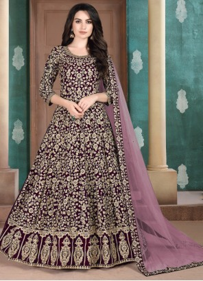 Faux Georgette Maroon Resham Salwar Suit