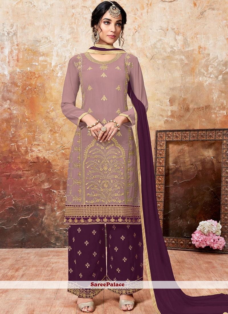 Faux Georgette Mauve  and Purple Lace Designer Palazzo Suit