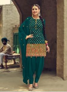 Faux Georgette Mirror Patiala Suit in Green