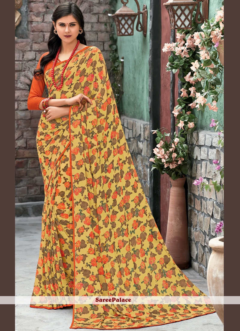 98f0b862d8 Buy Faux Georgette Multi Colour Abstract Print Printed Saree Online
