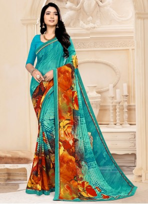 Faux Georgette Multi Colour Casual Abstract Printed Saree