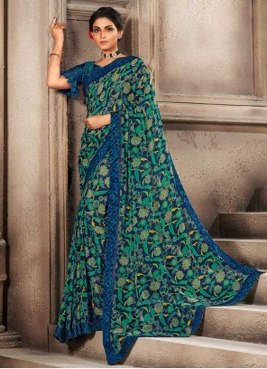 Faux Georgette Multi Colour Abstract Printed Saree