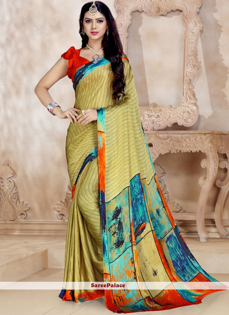 Georgette Multi Colour Abstract Printed Saree