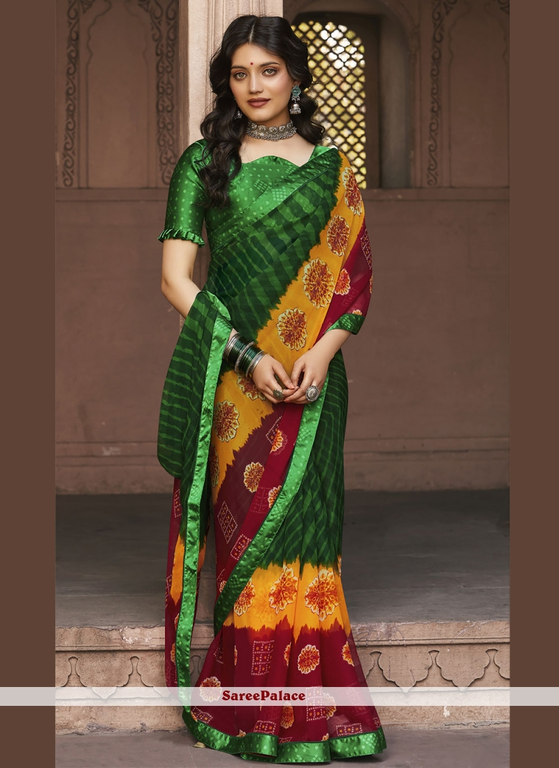 Faux Georgette Multi Colour Abstract Print Saree