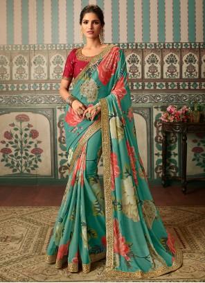 Faux Georgette Multi Colour Embroidered Classic Designer Saree