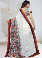 Faux Georgette Multi Colour Embroidered Work Classic Designer Saree