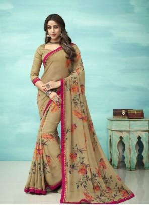 Faux Georgette Multi Colour Floral Print Casual Saree