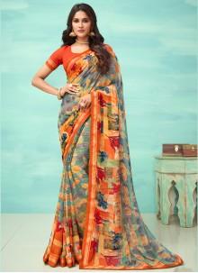 Faux Georgette Multi Colour Floral Print Designer Saree