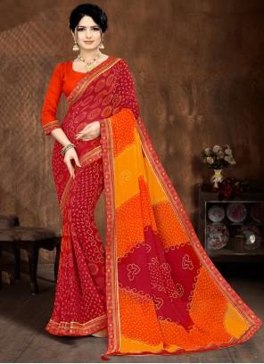 Faux Georgette Multi Colour Lace Printed Saree