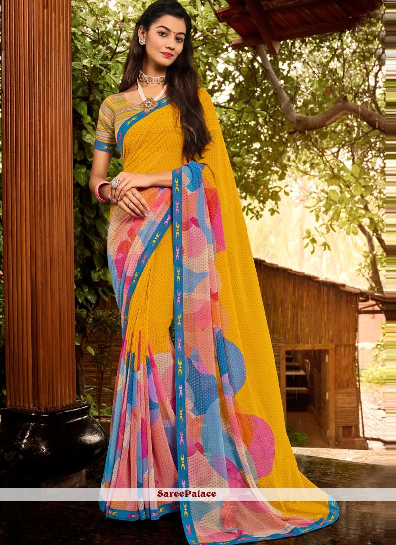 Faux Georgette Multi Colour Print Classic Saree