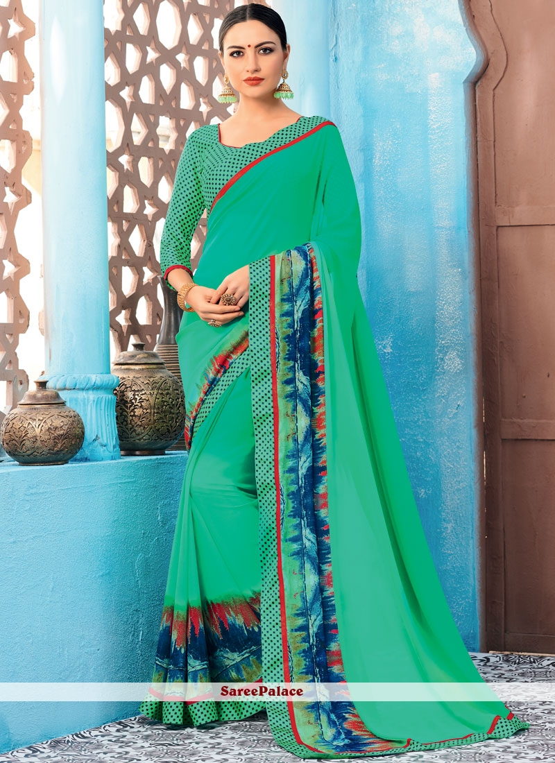 Faux Georgette Multi Colour Print Printed Saree