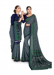 Faux Georgette Multi Colour Printed Saree