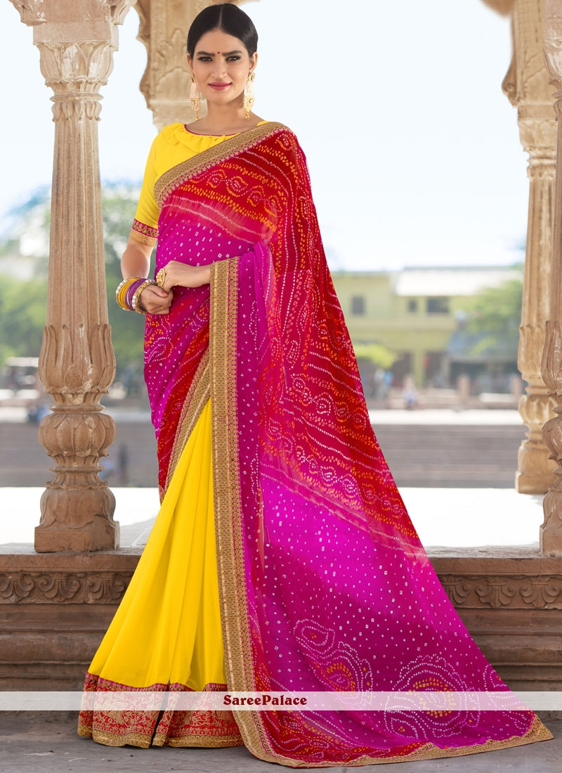 Faux Georgette Multi Colour Shaded Saree