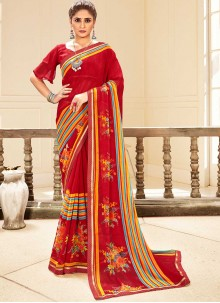 Faux Georgette Multi Colour Traditional Saree
