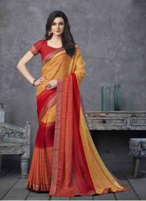 Faux Georgette Mustard and Red Shaded Saree