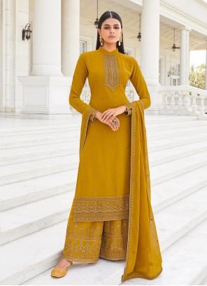 Faux Georgette Mustard Designer Palazzo Salwar Kameez