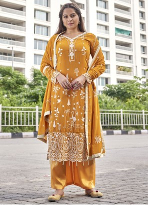 Faux Georgette Mustard Embroidered Designer Palazzo Suit