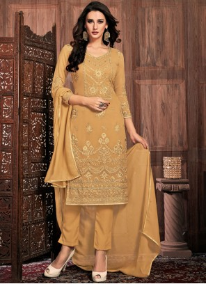 Faux Georgette Mustard Embroidered Pant Style Suit