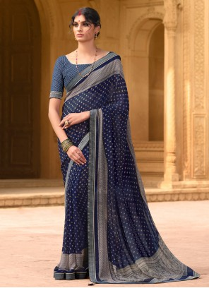Faux Georgette Navy Blue Casual Saree