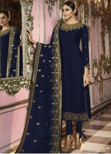 Faux Georgette Navy Blue Churidar Salwar Suit