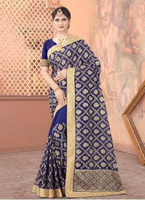 Faux Georgette Navy Blue Embroidered Traditional Designer Saree