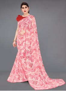 Abstract Print Faux Georgette Off White and Red Printed Saree