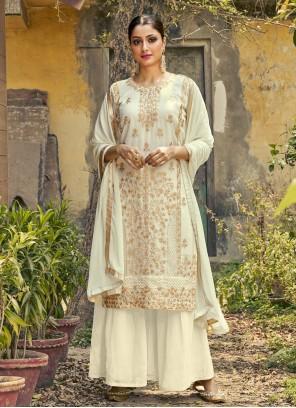 Faux Georgette Off White Designer Palazzo Suit
