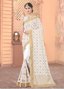 Faux Georgette Off White Patch Border Classic Designer Saree