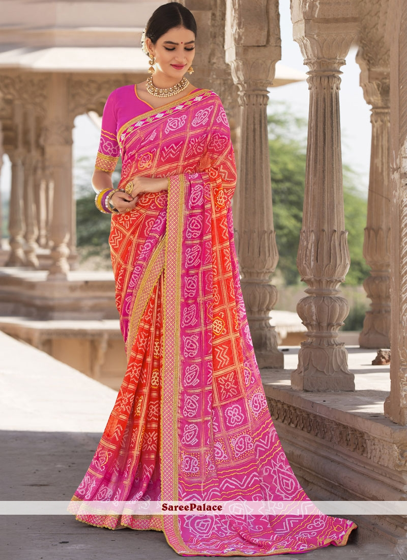 Faux Georgette Orange and Pink Shaded Saree