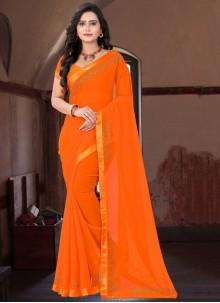 Faux Georgette Orange Classic Saree