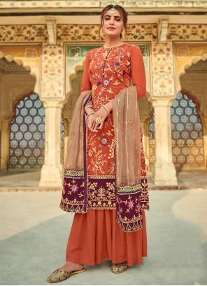 Faux Georgette Orange Designer Salwar Suit
