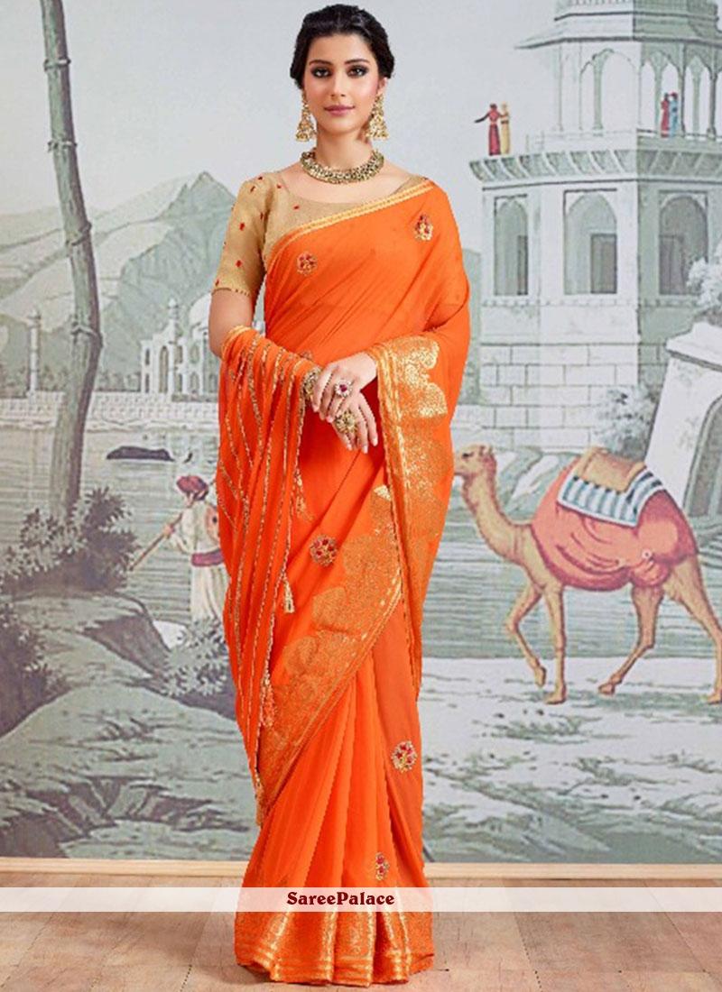 Faux Georgette Orange Resham Work Classic Designer Saree
