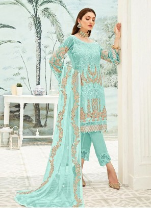 Faux Georgette Pant Style Suit in Blue