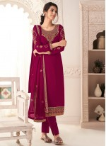 Faux Georgette Pant Style Suit in Magenta