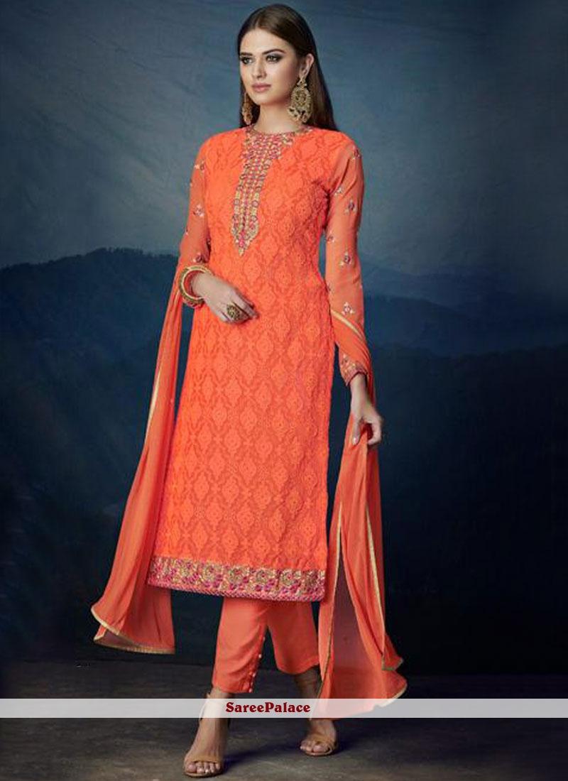 Orange Faux Georgette Party Designer Suit