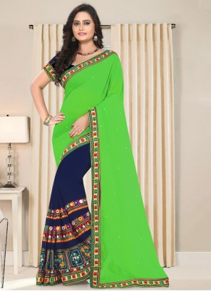 Faux Georgette Patch Border Blue and Green Half N Half  Saree