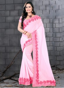 Faux Georgette Patch Border Designer Saree in Pink