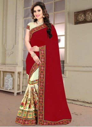 Faux Georgette Patch Border Half N Half Trendy Saree in Beige and Maroon